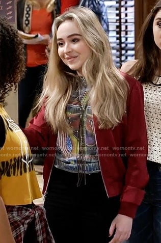 Maya's graphic tee and red bomber jacket on Girl Meets World