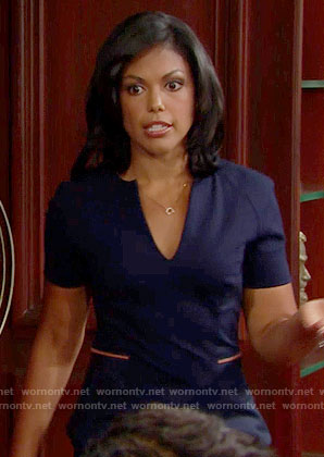 Maya's navy v-neck dress on The Bold and the Beautiful