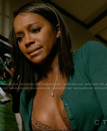 Michaela's lace trim bra and green cardigan on How to Get Away with Murder