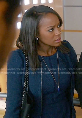 Michaela's navy tweed zip up jacket and dress on How to Get Away with Murder