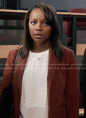 Michaela's white scalloped detail top on How to Get Away with Murder