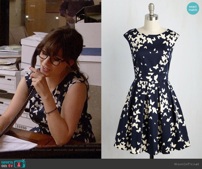 ModCloth Closet London Fluttering Romance Dress in Butterfly Silhouettes worn by Zooey Deschanel on New Girl