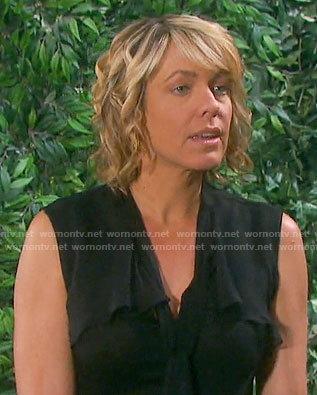 Nicole's black sleeveless tie neck top on Days of our Lives