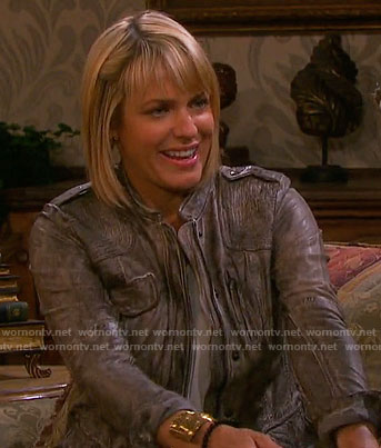 Nicole's grey distressed leather jacket on Days of our Lives