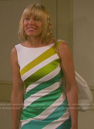 Nicole's white dress with green stripes on Days of our Lives