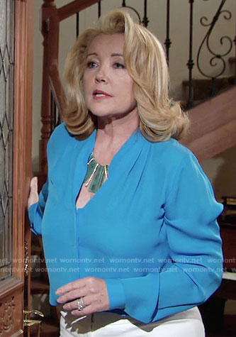 Nikki's blue blouse on The Young and the Restless