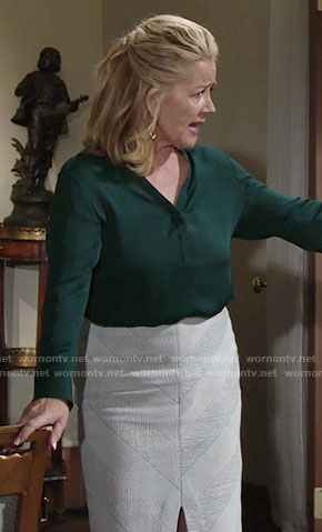 Nikki's green grommet studded blouse and split front skirt on The Young and the Restless