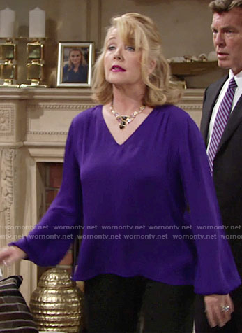 Nikki's purple long sleeve top on The Young and the Restless