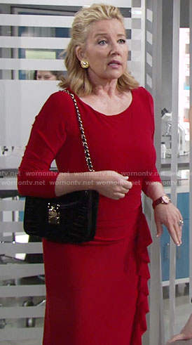 Nikki's red dress with ruffle front on The Young and the Restless