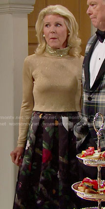 Pam's floral maxi skirt and gold sweater on The Bold and the Beautiful