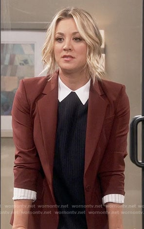 Penny's pinstriped dress with white collar and burgundy blazer on The Big Bang Theory