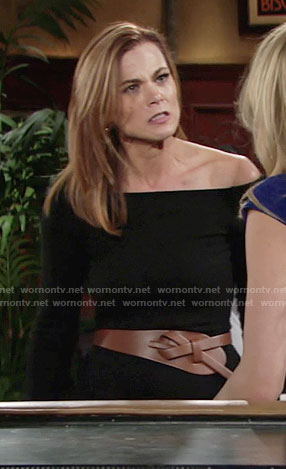 Phyllis's black off-shoulder dress and tan belt on The Young and the Restless