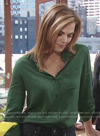 Phyllis's green button down blouse with black leather details on The Young and the Restless