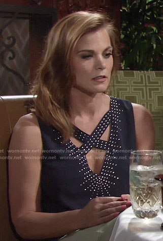 Phyllis's navy studded top with crisscross straps on The Young and the Restless
