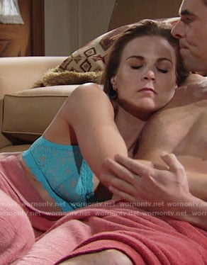 Phyllis's turquoise blue lace bra on The Young  and the Restless