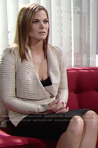 Phyllis's cream pleated leather jacket on The Young and the Restless