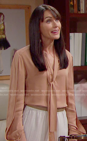 Quinn's nude tie neck blouse on The Bold and the Beautiful