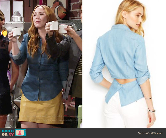 RACHEL Rachel Roy Cutout Denim Shirt worn by Camryn Grimes on The Young & the Restless