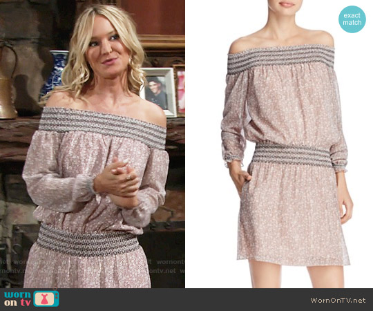 Rebecca Minkoff 'Cara' Off-The-Shoulder Mini Dress worn by Sharon Collins (Sharon Case) on The Young & the Restless