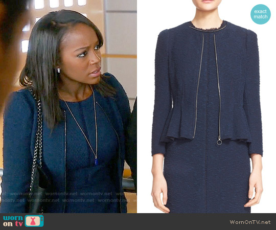 Rebecca Taylor Zip Front Bouclé Tweed Jacket worn by Michaela Pratt on HTGAWM
