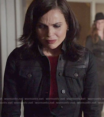 Regina's black denim jacket with leather panel on Once Upon a Time
