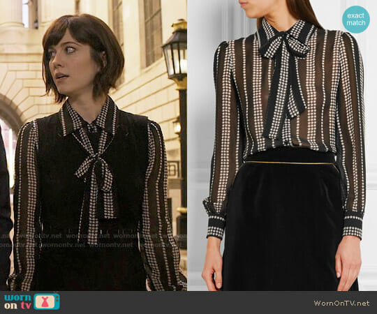 Saint Laurent Pussy-bow printed silk-georgette shirt worn by Laurel Healy (Mary Elizabeth Winstead) on BrainDead