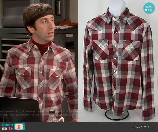 Salt Valley New Texas Plaid Western Shirt worn by Howard Wolowitz (Simon Helberg) on The Big Bang Theory