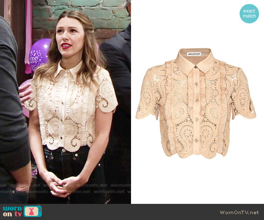 Self Portrait Paisley Lace Crop Blouse worn by Elizabeth Hendrickson on The Young & the Restless