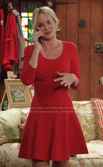 Sharon's red fit and flare dress on The Young and the Restless