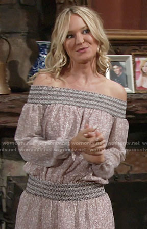 Sharon's off-shoulder long sleeved dress on The Young and the Restless