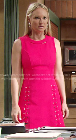 Sharon's pink lace-up dress with cutout neckline on The Young and the Restless