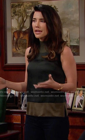 Steffy's black and khaki colorblock sleeveless top on The Bold and the Beautiful