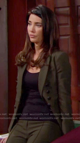 Steffy's green double breasted pant suit on The Bold and the Beautiful