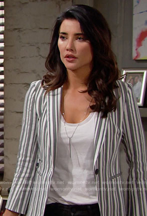 Steffy's striped blazer on The Bold and the Beautiful