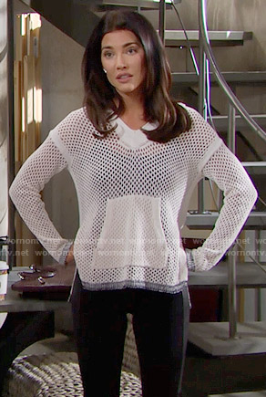 Steffy's white mesh hoodie on The Bold and the Beautiful