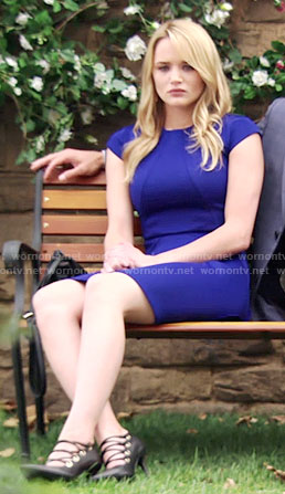 Summer's blue cap sleeve dress on The Young and the Restless