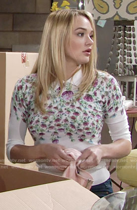 Summer's white floral collared sweater on The Young and the Restless