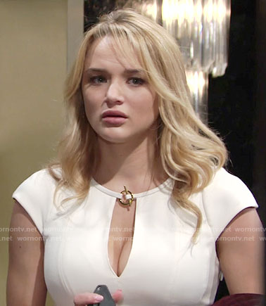 Summer's white toggle neck dress on The Young and the Restless