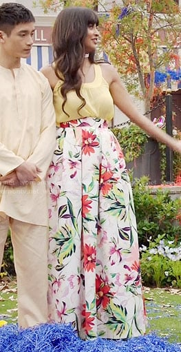 Tahani's floral maxi skirt on The Good Place