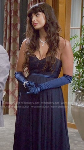 Tahani's navy strapless gown on The Good Place