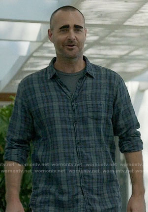 Tandy's blue and green plaid shirt on Last Man on Earth
