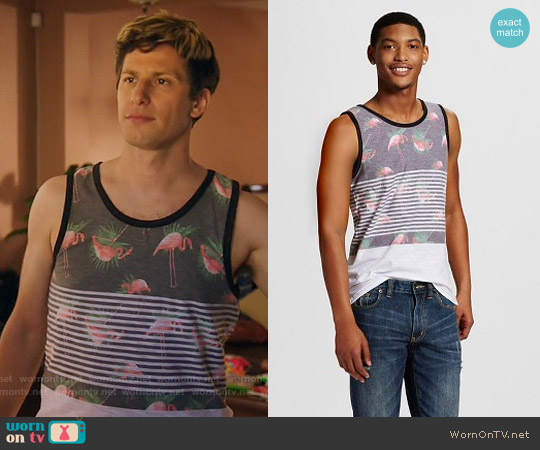 Target Flamingo Print Tank Top - Ocean Current worn by Jake Peralta (Andy Samberg) on Brooklyn Nine-Nine