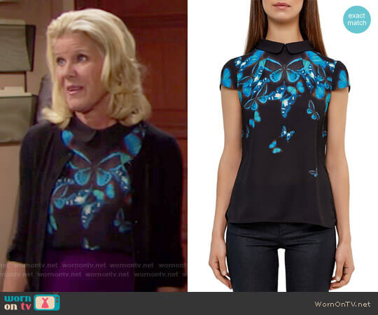 Ted Baker Nealie Butterfly Collective Top worn by Alley Mills on The Bold & the Beautiful