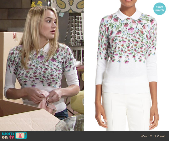 Ted Baker 'Karn' Thistle Print Cotton Sweater worn by Summer Newman (Hunter King) on The Young & the Restless