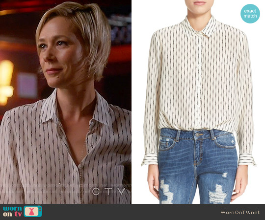The Kooples 'Fantasy' Silk Shirt worn by Liza Weil on HTGAWM