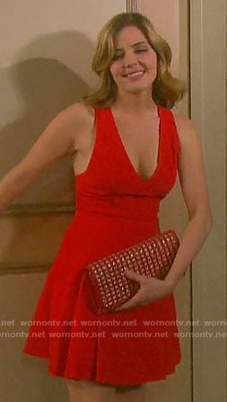 Theresa's red v-neck dress on Days of our Lives