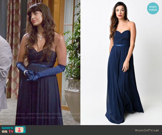 Unique Vintage Navy Chiffon Strapless Sweetheart Corset Long Gown worn by Tahani Al-Jamil (Jameela Jamil) on The Good Place