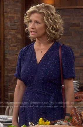 Vanessa's blue dotted wrap dress on Last Man Standing