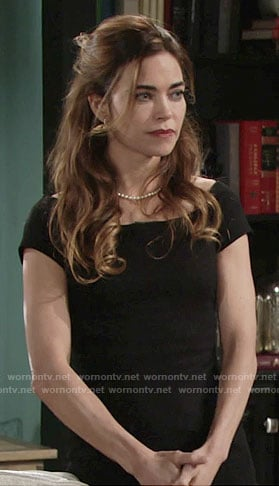 Victoria's black off-shoulder dress on The Young and the Restless