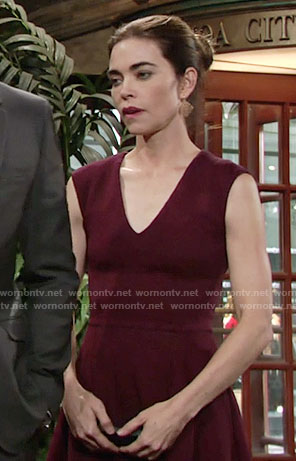 Victoria's burgundy v-neck dress on The Young and the Restless